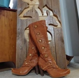 Juno Leather high heel boots *Rare find*